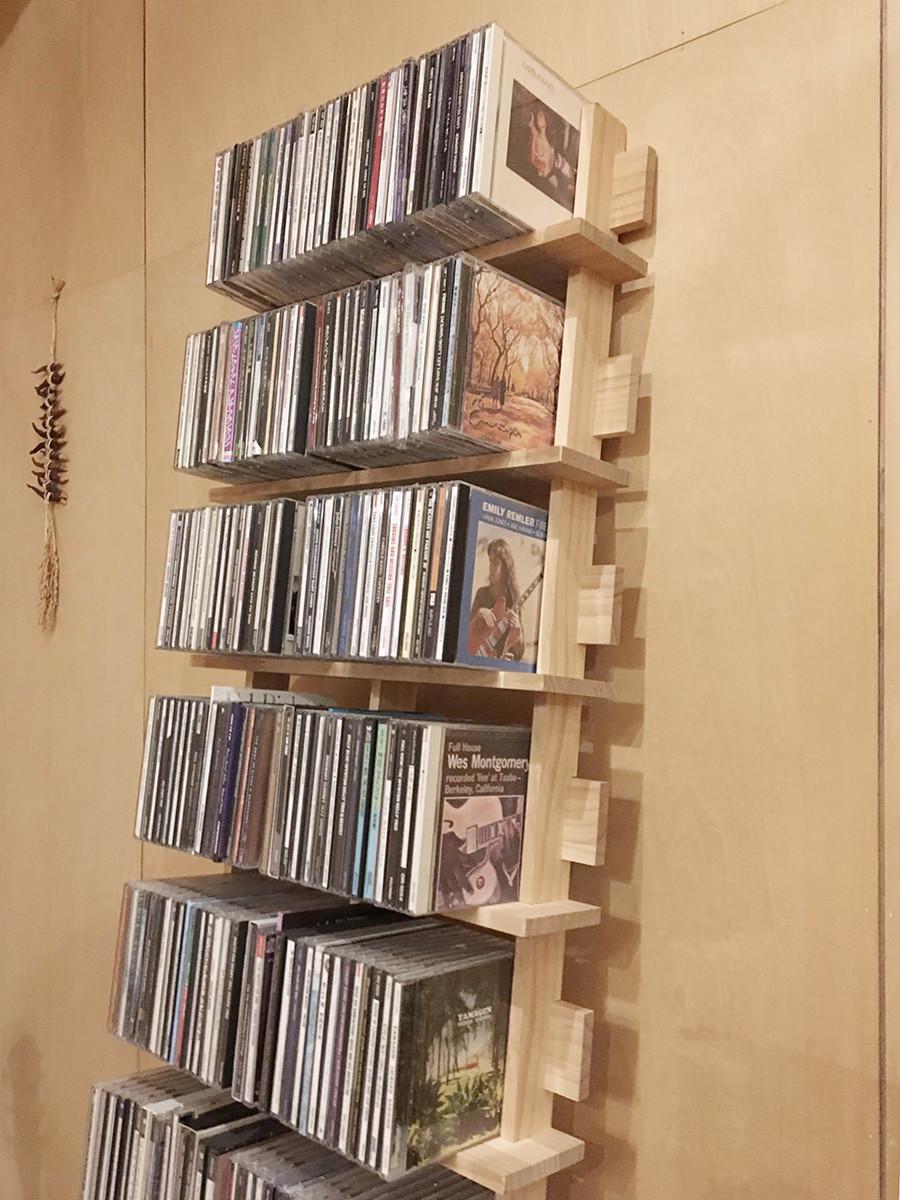 書斎avコーナーに シェルフ型cdラック Ladder(no 04)