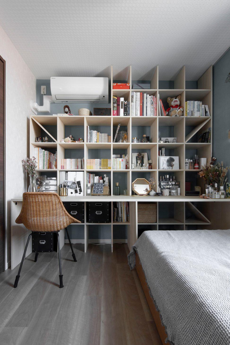 カウンター付き本棚/Shelf(No.25)寝室の本棚
