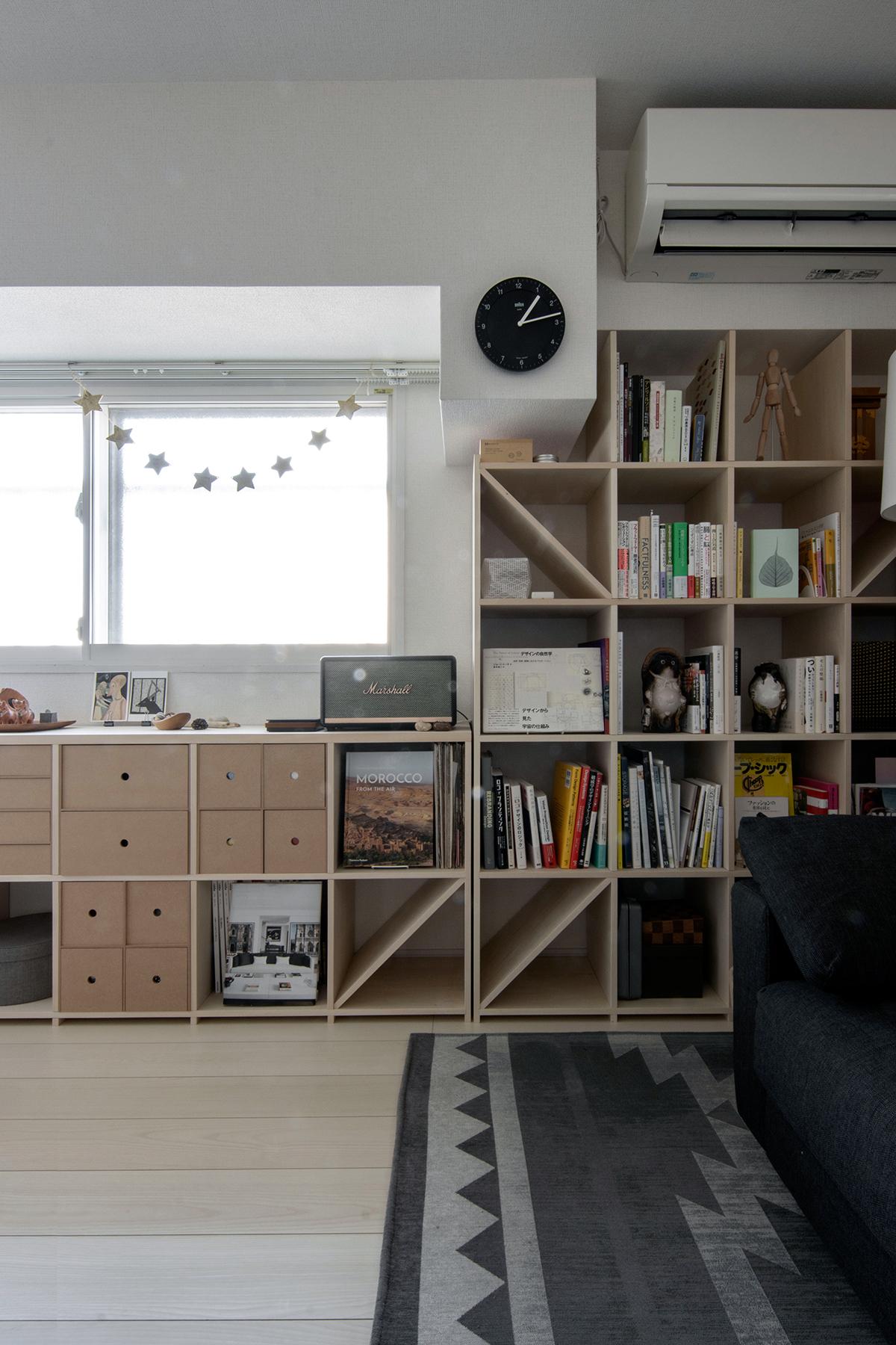 2つの本棚を組み合わせて | 壁一面の本棚 奥行350mm ロータイプ / Shelf (No.11)
