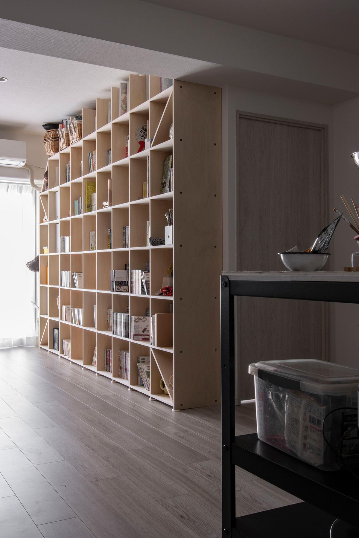 2台連結してリビングの一面を壁面収納に   壁一面の本棚 奥行350mm / Shelf (No.98)