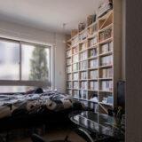 ワンルームマンションの壁一面に | 壁一面のA5判本棚 奥行180mm / Shelf (No.10) | マルゲリータ使用例
